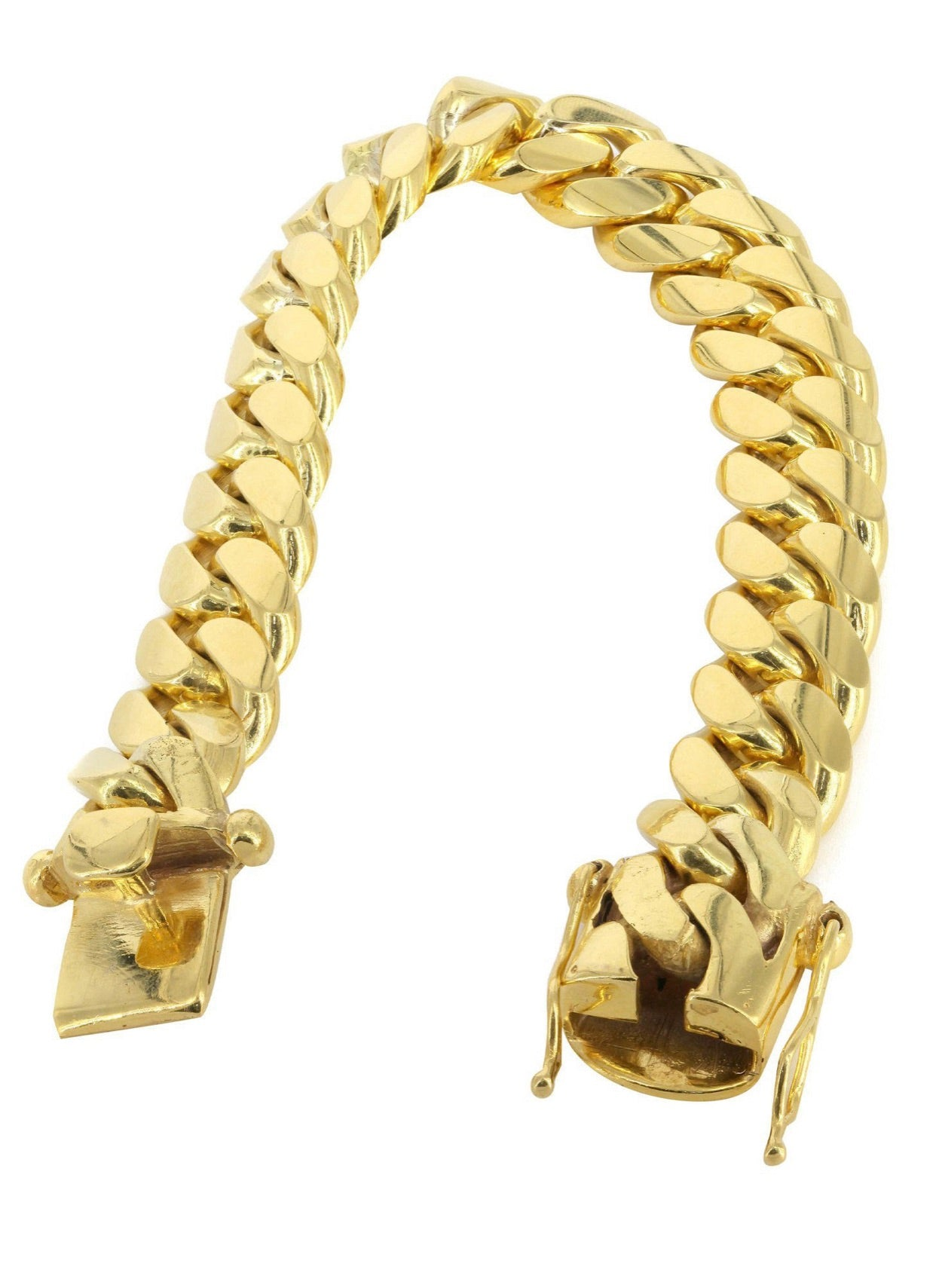 Solid Mens Miami Cuban Link Bracelet 14K Yellow Gold - A&M