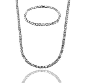 White Gold DIAMOND TENNIS CHAIN & BRACELET SET - A&M