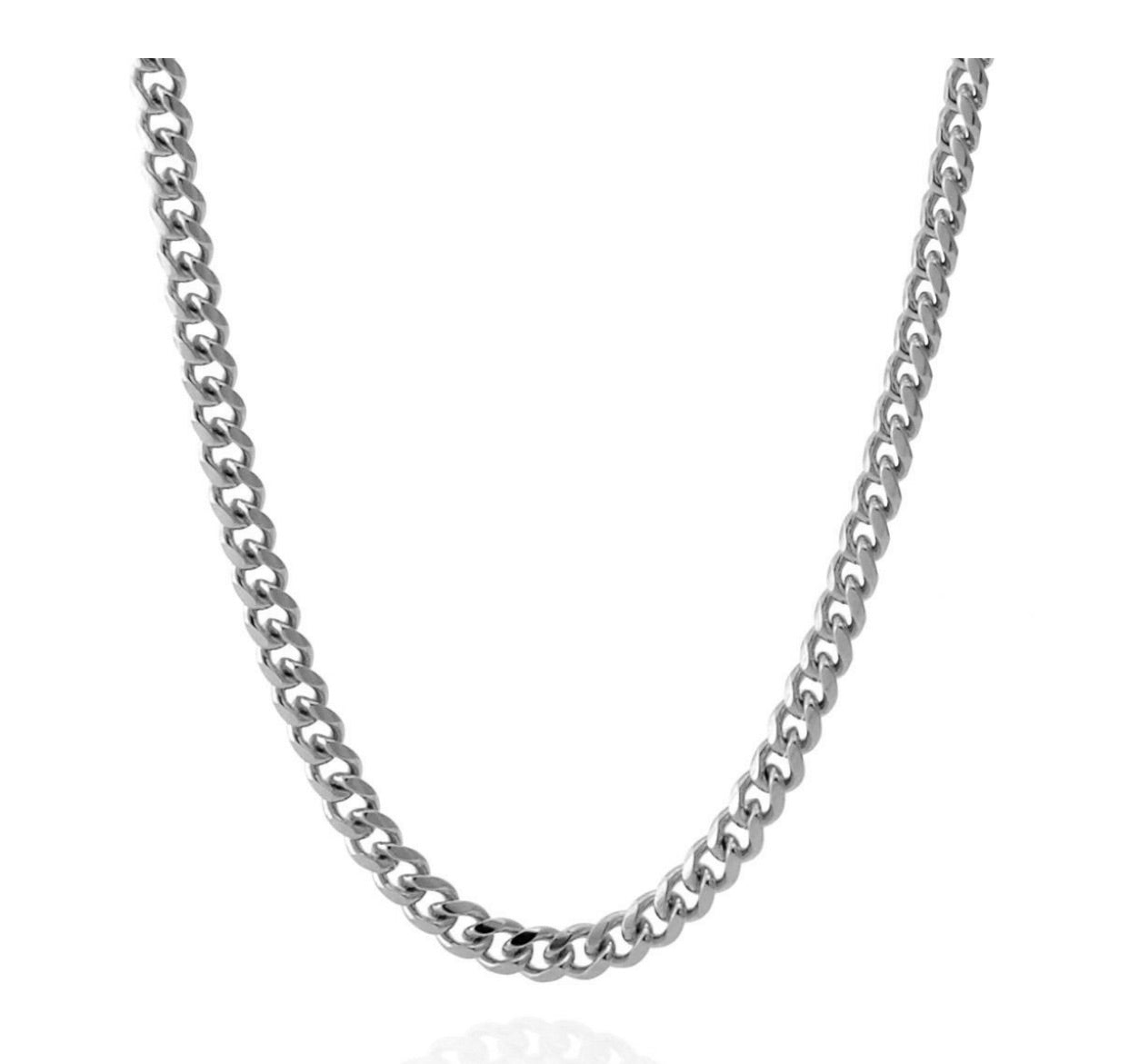 14K 5mm White Gold Miami Cuban Curb Chain - A&M