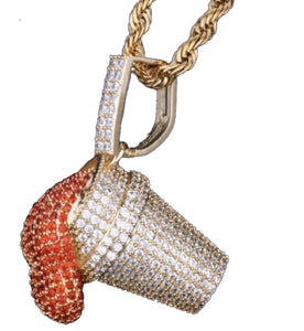 Cz 18K Gold Red Cup Pendant *NEW*