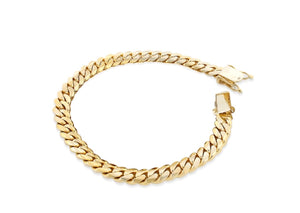 YELLOW GOLD MIAMI CUBAN LINK CURB CHAIN BRACELET 14K 4MM - A&M