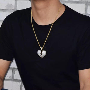 SOLID BROKEN HEART ICED OUT NECKLACE & PENDANT - A&M