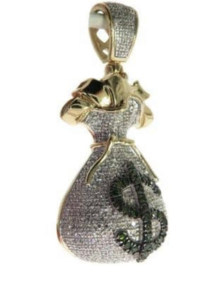 10K Yellow Gold Micro Pave Diamond Money Bag Dollar 0.75 Cz