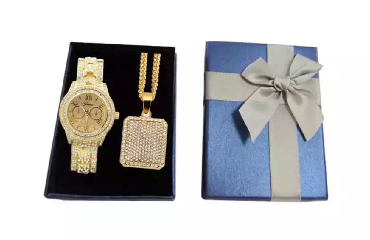 Gold Watch & Pendant - A&M