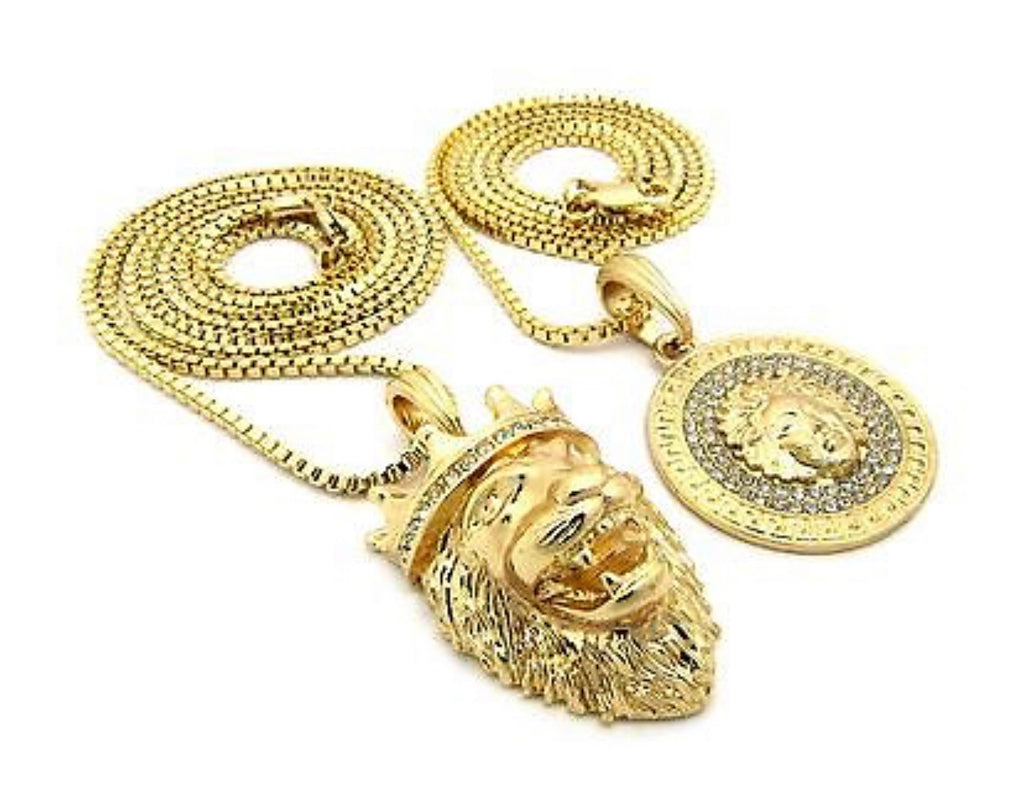 Iced Out Micro Lion King Crown, Jesus, Medusa Pendant 2 Necklace Set *NEW* - a-m-clothing-shoppe