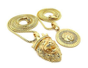 Iced Out Micro Lion King Crown, Jesus, Medusa Pendant 2 Necklace Set *NEW*