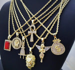 Hip Hop Iced Mini Hot selling 7 pendants Rapper's Collection Necklace Combo Set - A&M