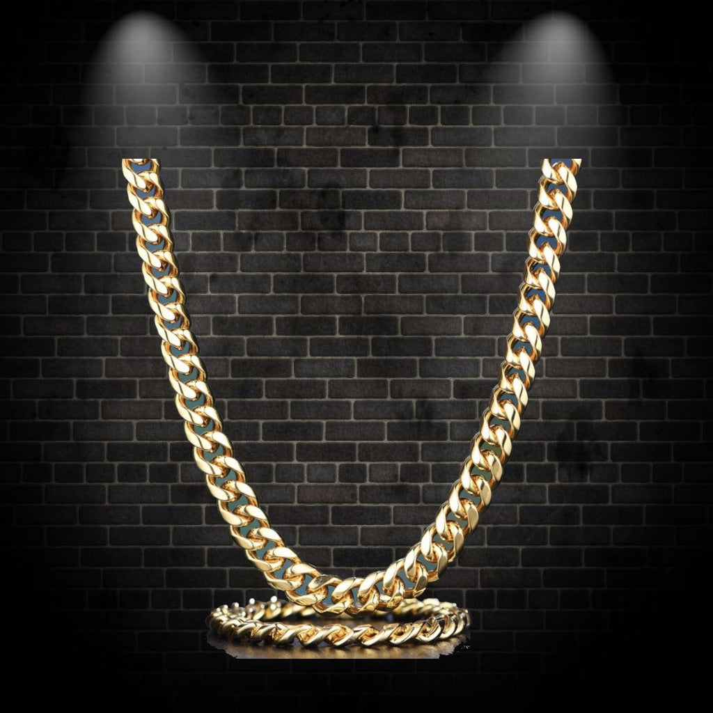 12mm Gold Miami Cuban Chain and Bracelet Set *LIMITED SUPPLY & OFFER* - a-m-clothing-shoppe