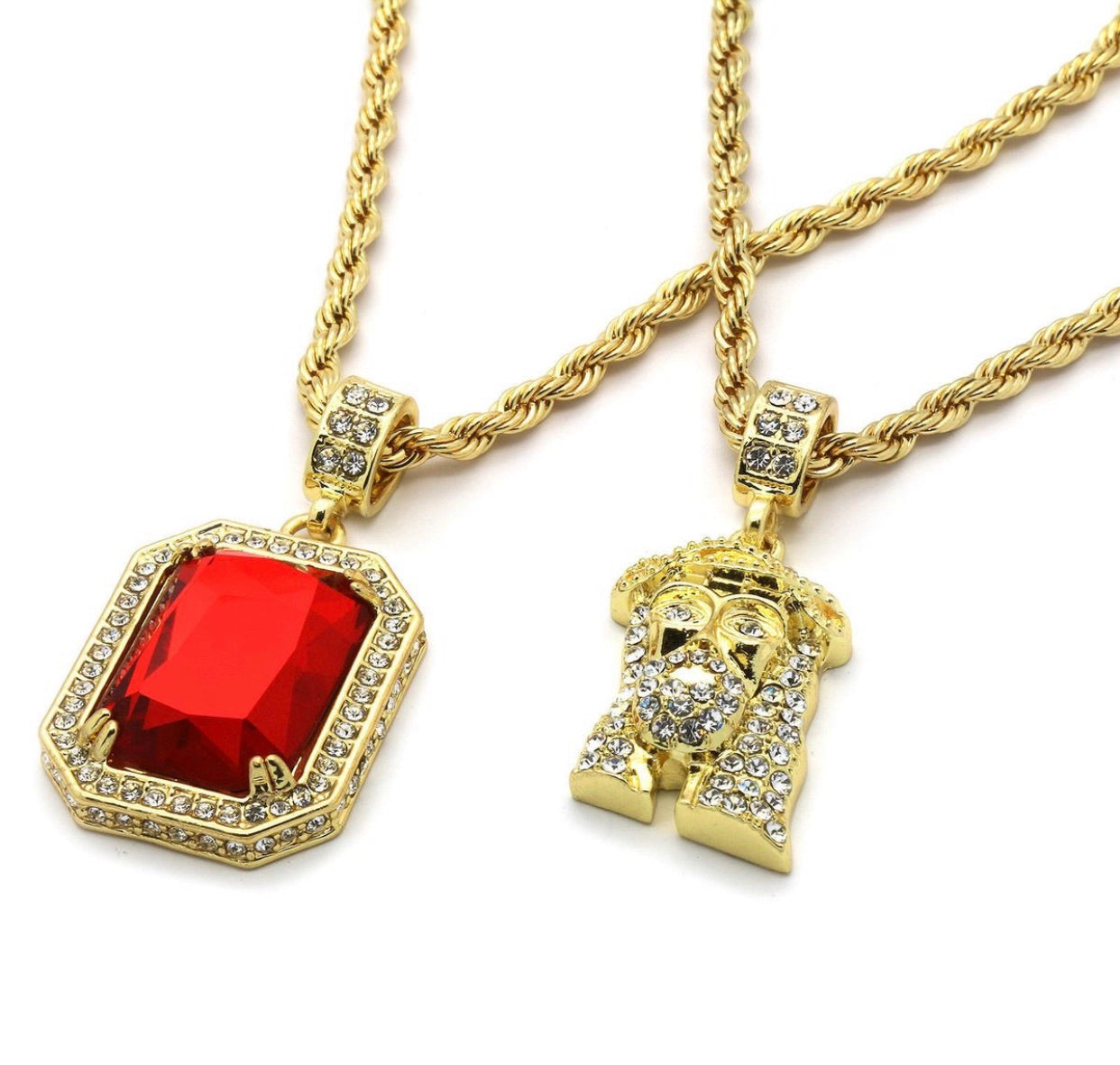 "14k Gold  Hip Hop Jesus Head & Ruby Necklace & 16"" Iced Cuban Choker Chain set - A&M"