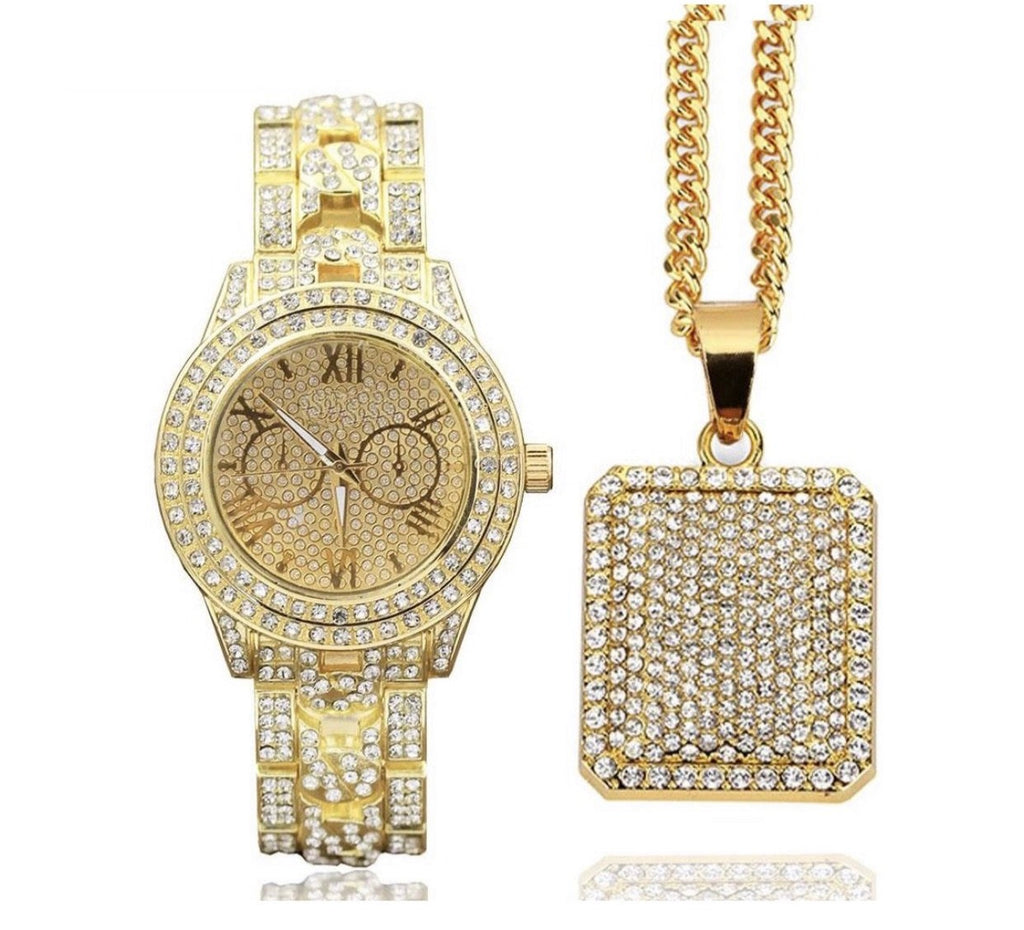 14K Gold Watch & Pendant - a-m-clothing-shoppe