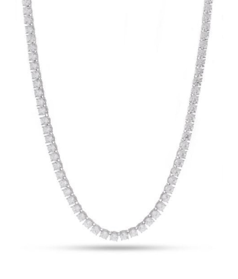 5mm, White Gold Single Row Tennis Necklace - A&M