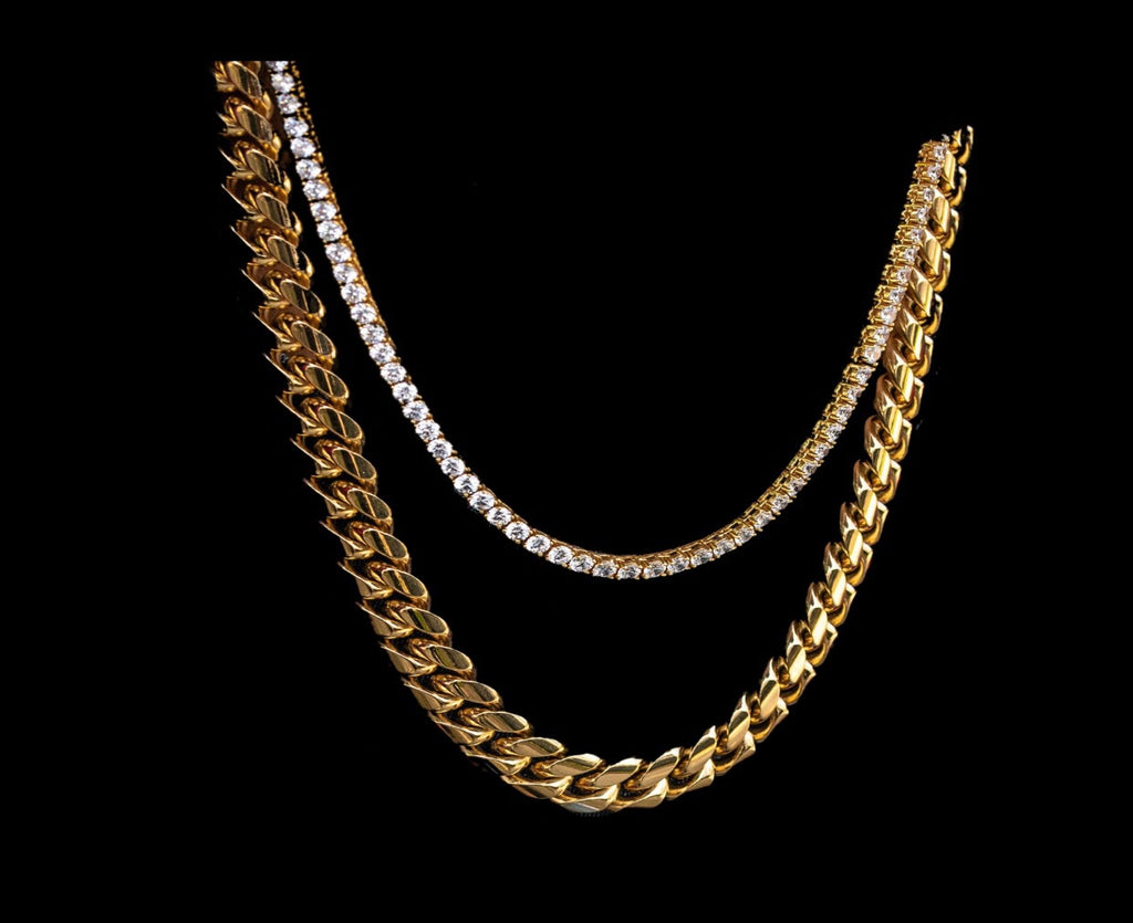 Solid Miami Cuban Link ( 15 MM ) & Tennis Chain - a-m-clothing-shoppe