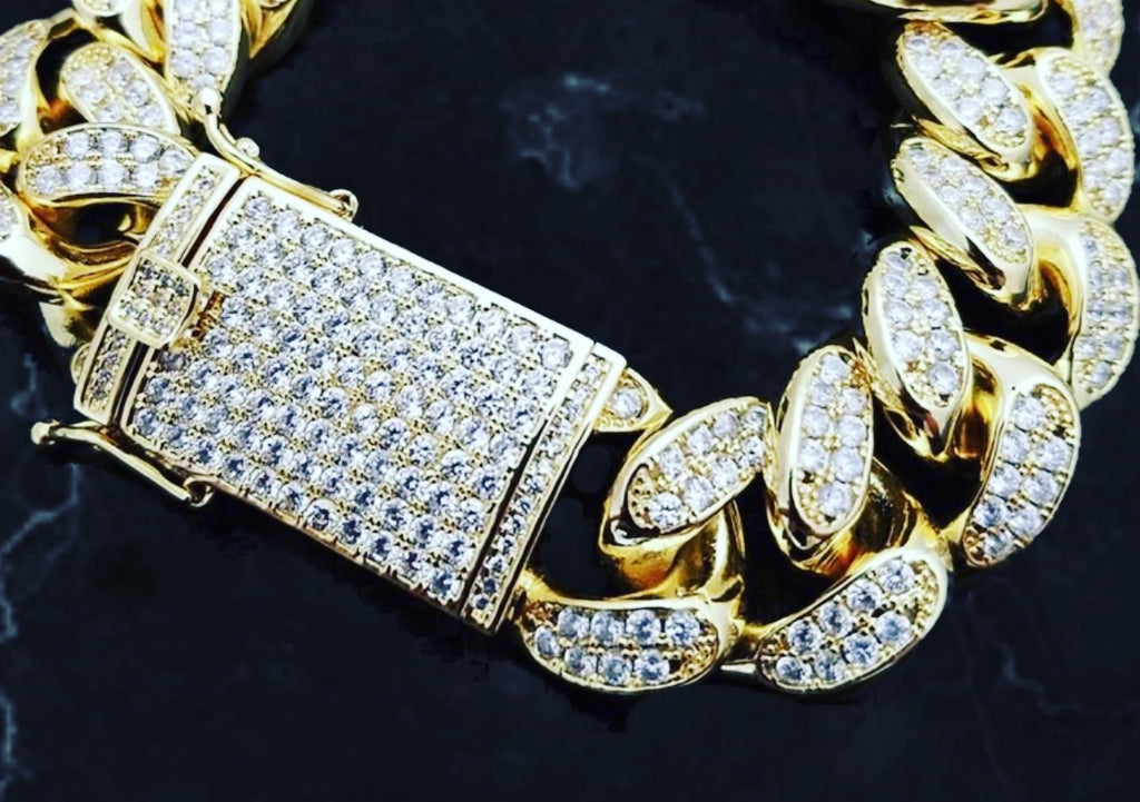 GOLD Hip Hop Iced out 19mm Heavy Gold Micro Pave Stone Bracelet