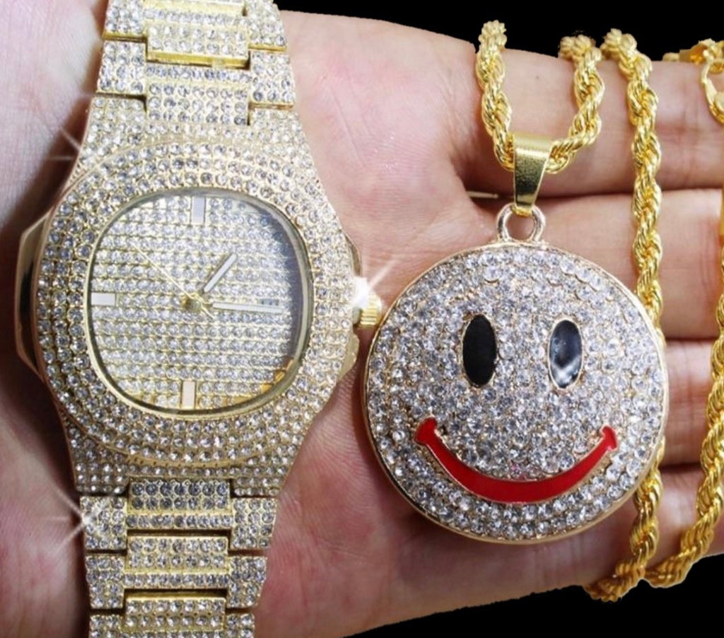 Cz Gold Watch & Smile Pendant Set *NEW* - a-m-clothing-shoppe