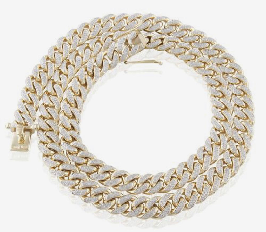 Yellow Gold Diamond 11mm Cuban Link Chain 26.5in
