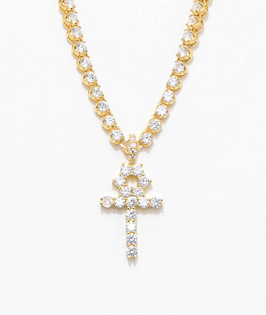 Diamond Ankh Cross & 4mm Tennis Chain Necklace - a-m-clothing-shoppe