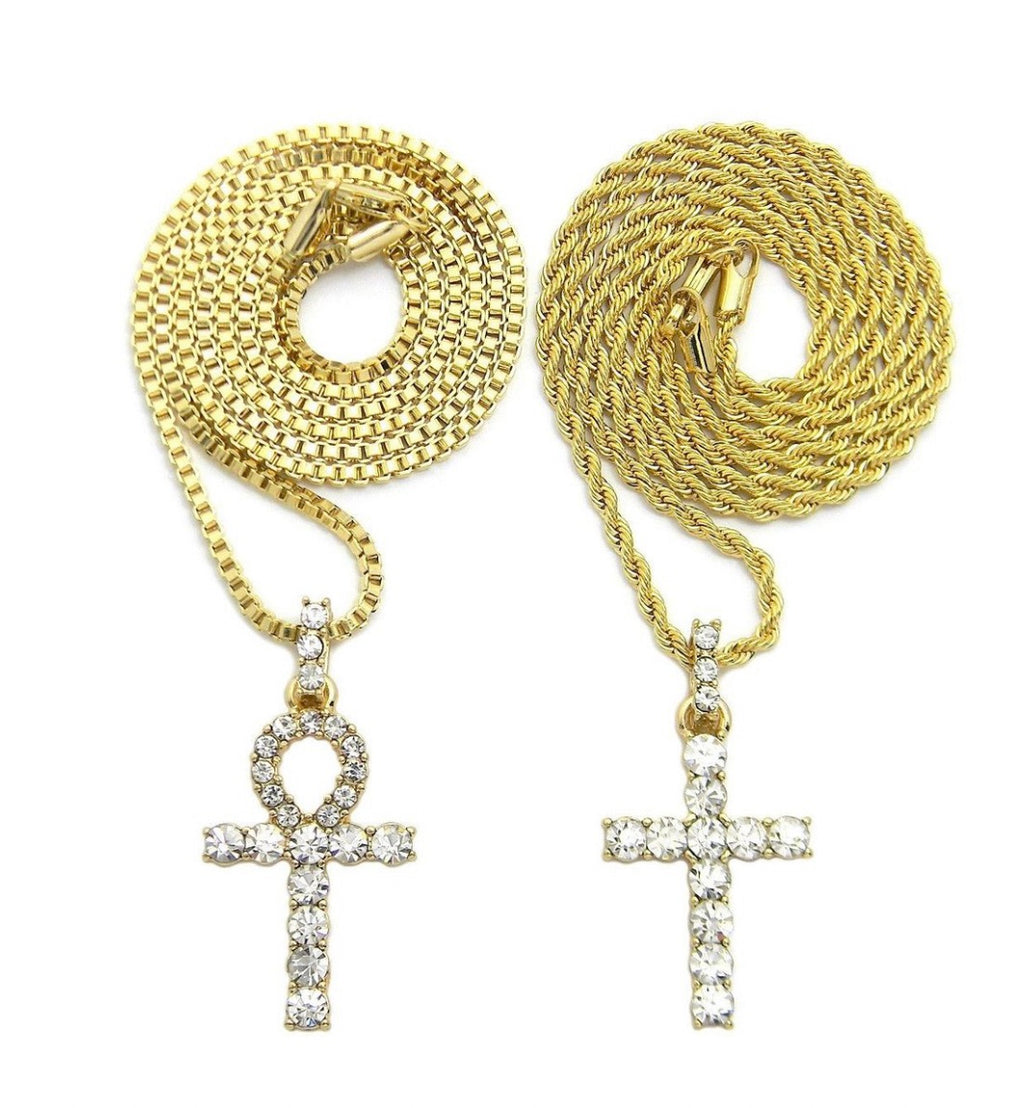 "ICED OUT CZ ANKH CROSS & CROSS PENDANT & 24"" BOX & ROPE CHAIN 2 NECKLACE SET - a-m-clothing-shoppe"
