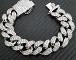 Hip Hop Iced out 19mm Heavy White Gold Micro Pave Stone Bracelet - A&M