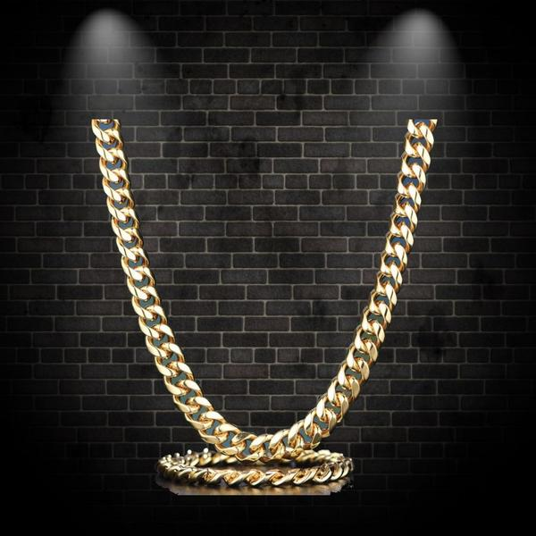 12mm 14K SOLID Gold Miami Cuban Chain and Bracelet Set - a-m-clothing-shoppe