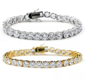 ICED OUT CZ TENNIS GOLD BRACELET 8""