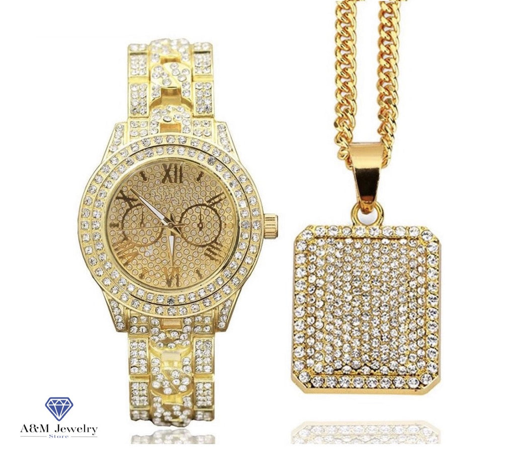 Iced Out Watch & Iced Square Dog Tag Necklace Combo Set - a-m-clothing-shoppe