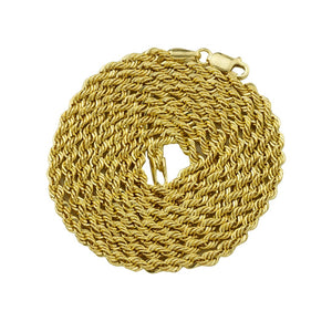 14K Yellow Gold Rope Chain 24 Inches 3 mm - A&M