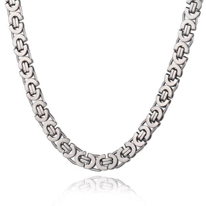 11mm Silver Tone Stainless Steel Flat Byzantine Necklace 18-28inch *NEW*
