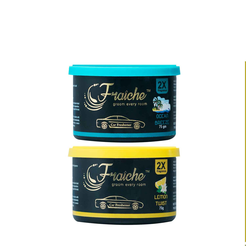 Fraiche Scented Premium Car Freshener Gel, Pack of 2 | Fragrances : Lemon Twist and Ocean Breeze | 75 grams each