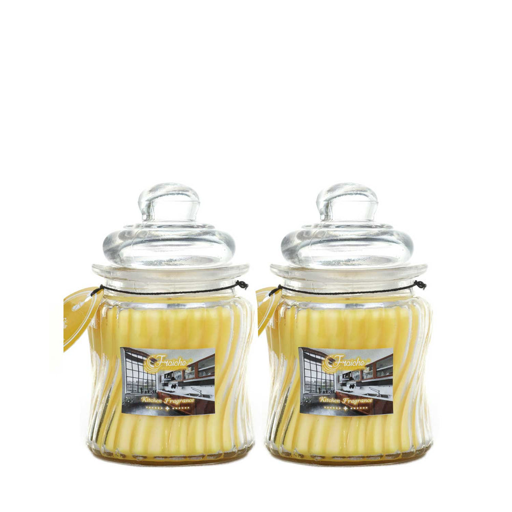 Fraiche Citrus ribbed jar candle | Pack of 2