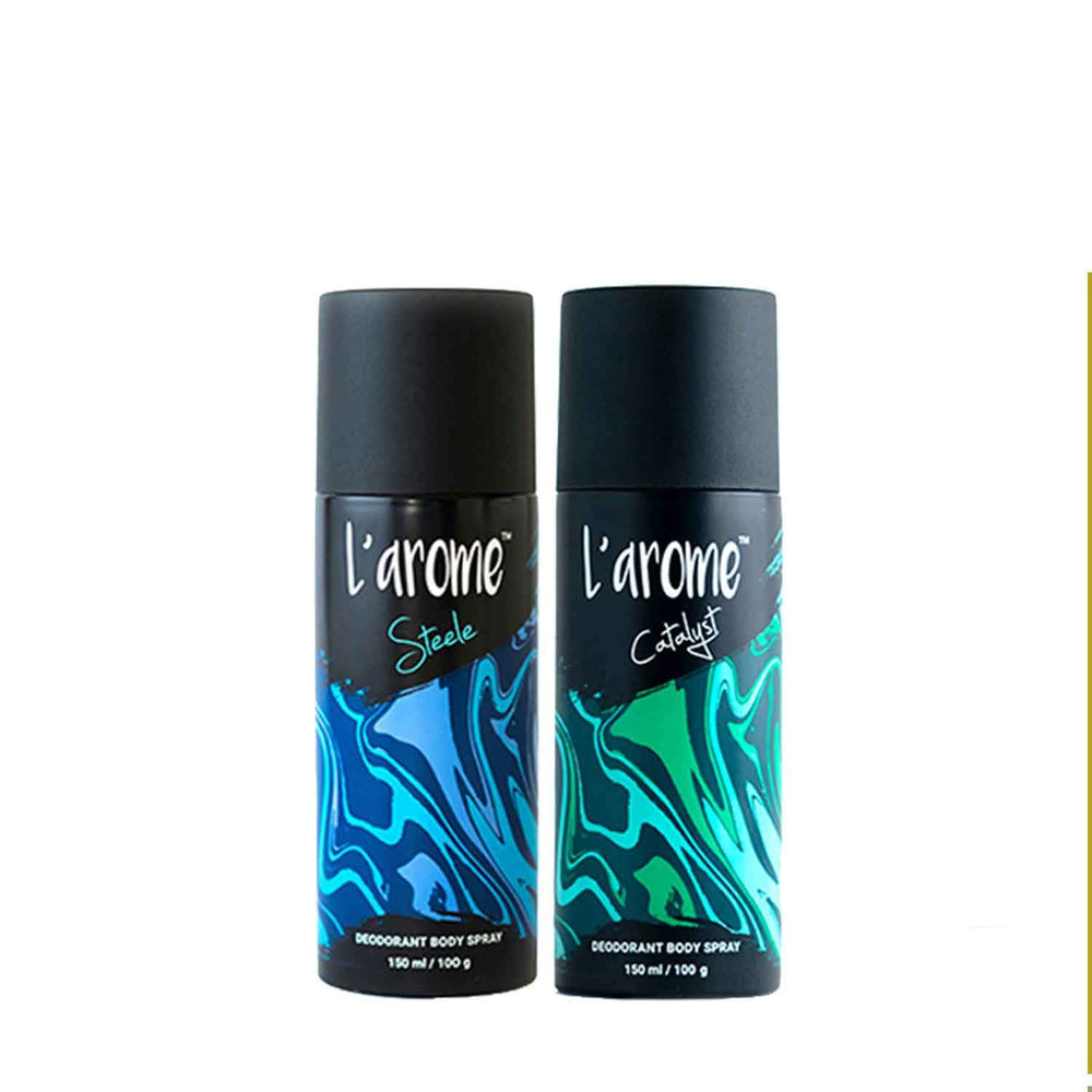 L'Arome Steele + Catalyst Men Deodorant | 150 ML each | Pack of 2