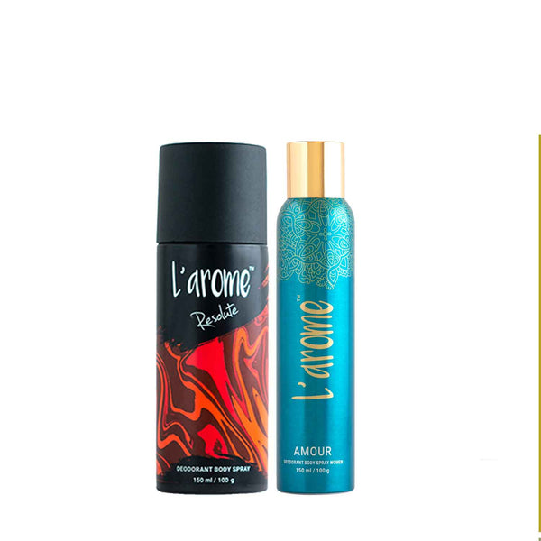 L'Arome Resolute Male deodorant + Amour Love Female Deodorant | 150 ML each | Pack of 2