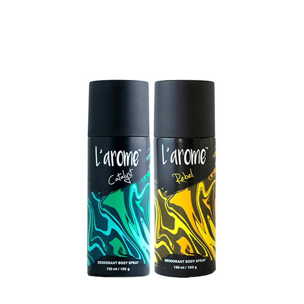 L'Arome Rebel + Catalyst Men Deodorant | 150 ML each | Pack of 2