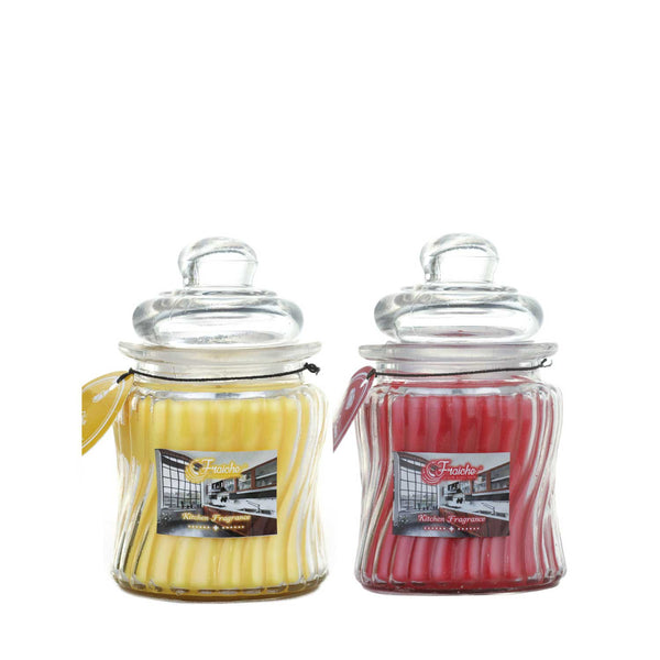 Fraiche ribbed jar candle | Cinnamon and Citrus fragrances | Pack of 2