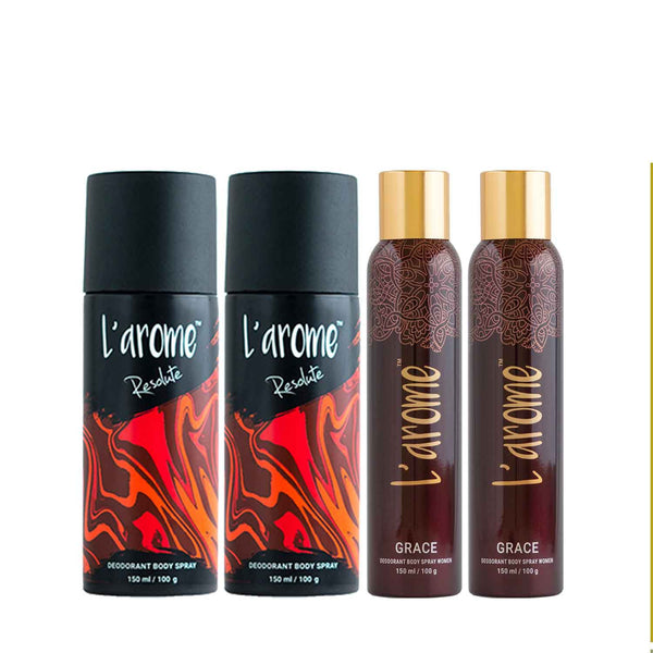 L'Arome Resolute Men Deodorant + Grace Women Deodorant | 150 ML each | Pack of 4