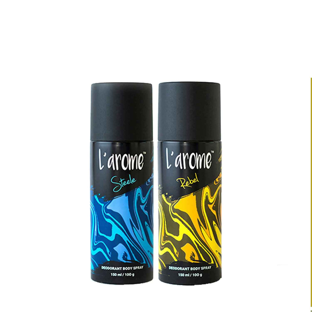 L'Arome Steele + Rebel Men Deodorant | 150 ML each | Pack of 2