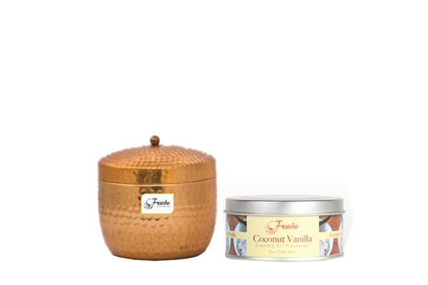 Fraiche Raspberry Hammered Container Candle & Window Tin Candle Freshener