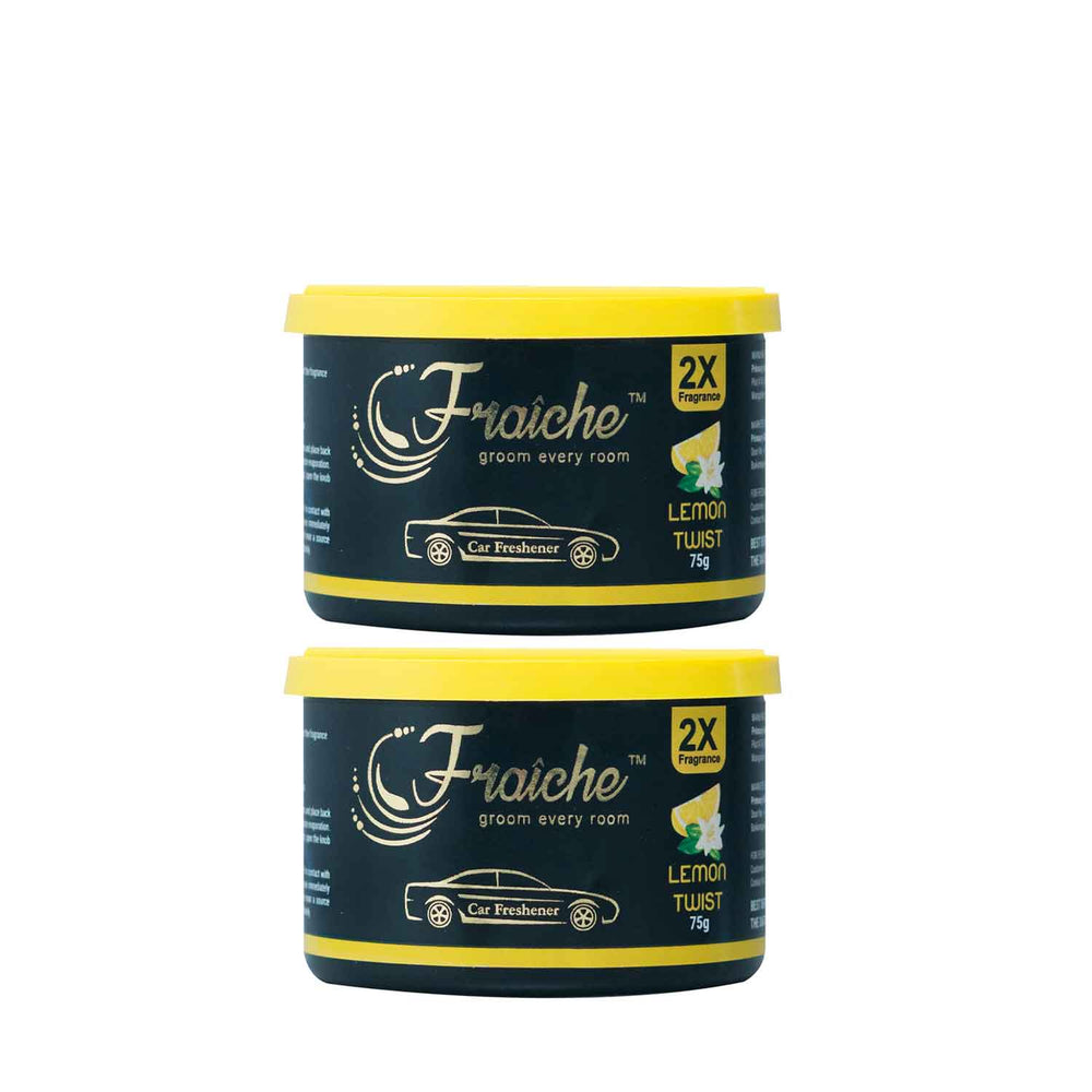Fraiche Scented Premium Car Freshener Gel, Pack of 2 | Fragrance : Lemon Twist | 75 grams each