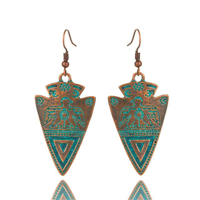 Antique Bronze Patina Earrings - E020612 - Earrings
