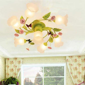Avery Pastoral Ceiling Lamp with Roses - Lighting