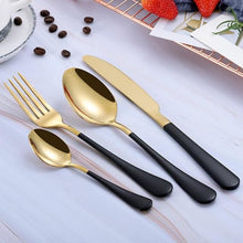 Beatrice Dipped Cutlery Set - black gold - Cutlery