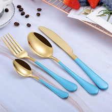 Beatrice Dipped Cutlery Set - blue gold - Cutlery