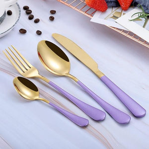 Beatrice Dipped Cutlery Set - purple gold - Cutlery