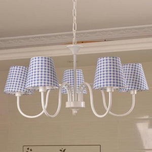 Carissa Classic Cottage Chandelier - Blue Gingham - Cottage Chandelier
