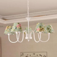 Carissa Classic Cottage Chandelier - Green Floral - Cottage Chandelier