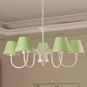 Carissa Classic Cottage Chandelier - Light Green Gingham - Cottage Chandelier