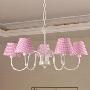 Carissa Classic Cottage Chandelier - Pink Gingham - Cottage Chandelier
