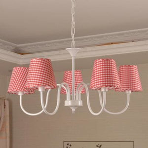 Carissa Classic Cottage Chandelier - Red Gingham - Cottage Chandelier