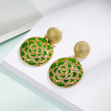 Garden Party Statement Earrings - Green - Earrings