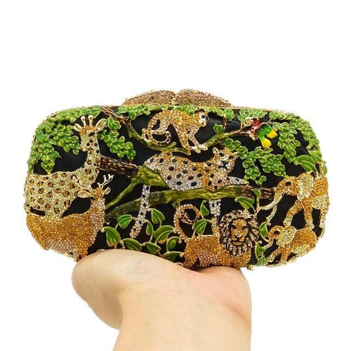 Jessica Jungle Clutch - Green Crystal Bag - Clutch Bag