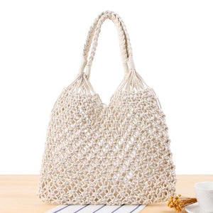 Linden Straw Bag - White - Woven Bag